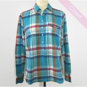 J. Crew Factory Blue/Pink Plaid Popover Shirt S
